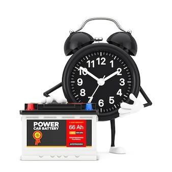 目覚まし時計のキャラクターのマスコットと充電式カーバッテリー12vアキュムレータ、白い背景に抽象的なラベルが付いています。 3dレンダリング