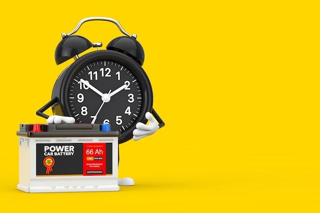 目覚まし時計のキャラクターのマスコットと充電式カーバッテリー12vアキュムレータ、黄色の背景に抽象的なラベルが付いています。 3dレンダリング