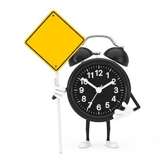 흰색 바탕에 당신의 디자인을 위한 여유 공간이 있는 알람 시계 캐릭터 마스코트와 노란색 도로 표지판. 3d 렌더링