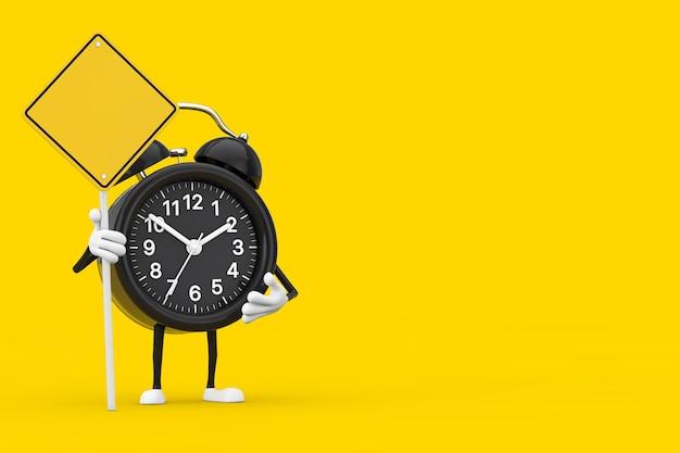 노란색 배경에 당신의 디자인을 위한 여유 공간이 있는 알람 시계 캐릭터 마스코트와 노란색 도로 표지판. 3d 렌더링