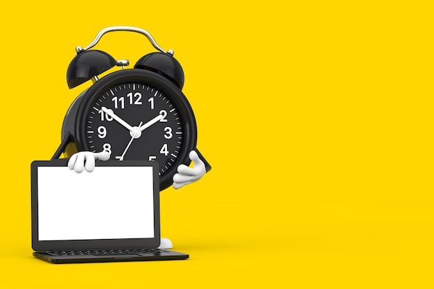 Alarm clock character mascot and modern laptop notebook computer with blank screen for your design on a yellow background. 3d rendering