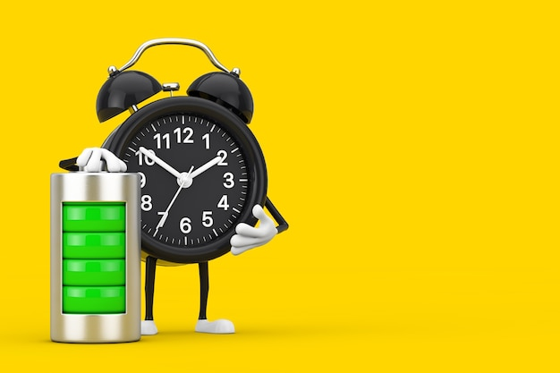 노란색 배경에 추상 충전 배터리가 있는 알람 시계 캐릭터 마스코트. 3d 렌더링