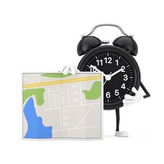 白い背景の上の抽象的な都市計画マップと目覚まし時計のキャラクターマスコット。 3dレンダリング