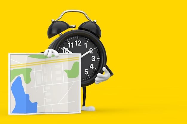 黄色の背景に抽象的な都市計画マップと目覚まし時計のキャラクターマスコット。 3dレンダリング
