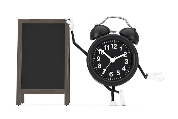 白地に空白の木製メニュー黒板屋外ディスプレイ付き目覚まし時計のキャラクターマスコット。 3dレンダリング