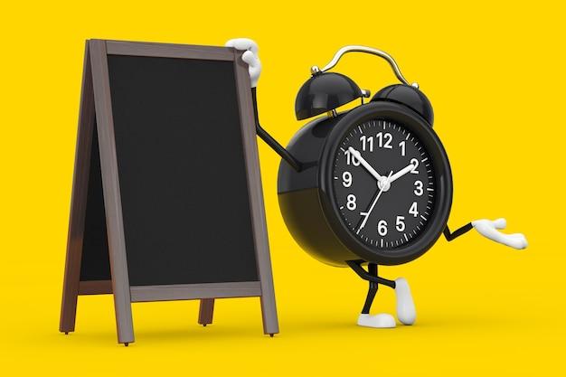 黄色の背景に空白の木製メニュー黒板屋外ディスプレイ付き目覚まし時計のキャラクターマスコット。 3dレンダリング