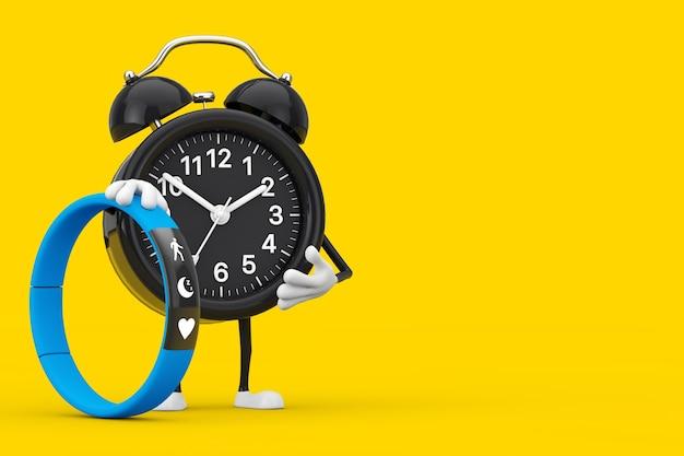 노란색 배경에 파란색 피트니스 추적기가 있는 알람 시계 캐릭터 마스코트. 3d 렌더링