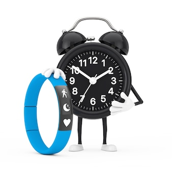 Alarm clock character mascot with blue fitness tracker on a white background. 3d rendering