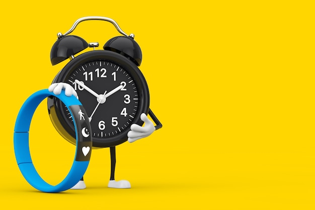 Alarm clock character mascot with blue fitness tracker on a yellow background. 3d rendering