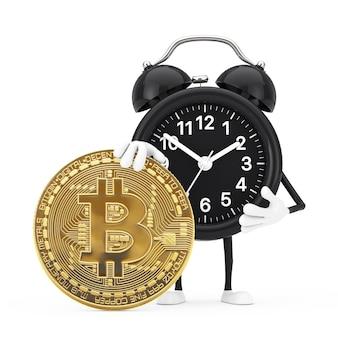 白い背景にデジタルと暗号通貨のゴールデンビットコインコインと目覚まし時計のキャラクターマスコット。 3dレンダリング