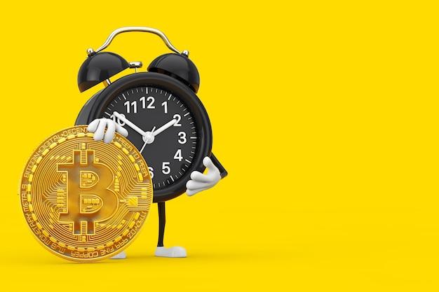 黄色の背景にデジタルと暗号通貨のゴールデンビットコインコインを備えた目覚まし時計のキャラクターマスコット。 3dレンダリング
