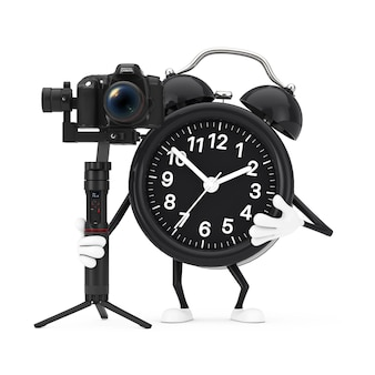 Alarm clock character mascot with dslr or video camera gimbal stabilization tripod system on a white background. 3d rendering