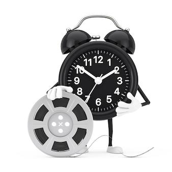 Талисман характера будильника с лентой кино вьюрка фильма на белой предпосылке. 3d рендеринг