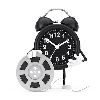 Alarm clock character mascot with film reel cinema tape on a white background. 3d rendering