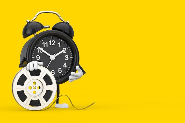 Alarm clock character mascot with film reel cinema tape on a yellow background. 3d rendering