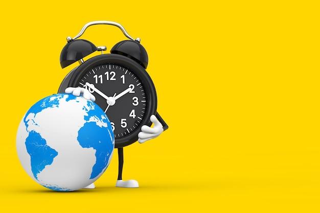 黄色の背景に地球儀とギフトボックスと目覚まし時計のキャラクターのマスコット。 3dレンダリング