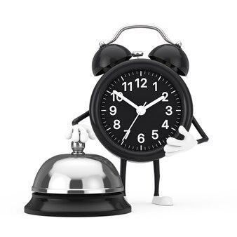 白い背景の上のホテルサービスベルコールと目覚まし時計のキャラクターのマスコット。 3dレンダリング