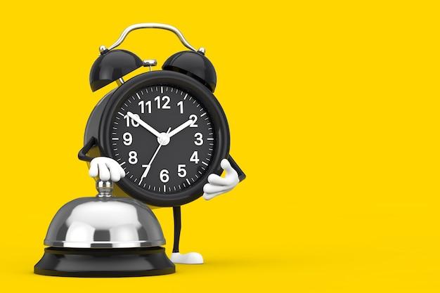 黄色の背景にホテルサービスベルコール付き目覚まし時計のキャラクターマスコット。 3dレンダリング