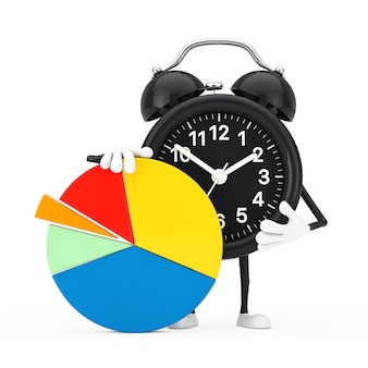 Alarm clock character mascot with info graphics business pie chart on a white background. 3d rendering