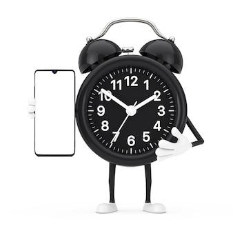 흰색 바탕에 디자인을 위한 빈 화면이 있는 현대적인 휴대 전화가 있는 알람 시계 캐릭터 마스코트. 3d 렌더링