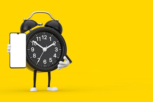 노란색 배경에 디자인을 위한 빈 화면이 있는 현대적인 휴대 전화가 있는 알람 시계 캐릭터 마스코트. 3d 렌더링