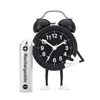 흰색 바탕에 충전식 배터리가 있는 알람 시계 캐릭터 마스코트. 3d 렌더링