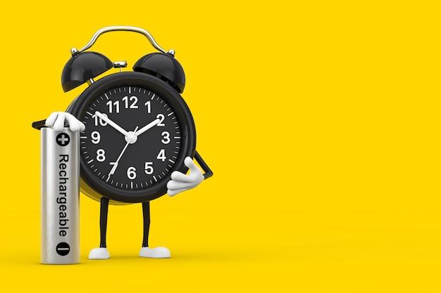 노란색 배경에 충전식 배터리가 있는 알람 시계 캐릭터 마스코트. 3d 렌더링