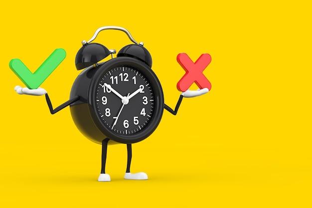 赤十字と緑のチェックマークが付いた目覚まし時計のキャラクターマスコット、確認または拒否、はいまたはいいえアイコン黄色の背景にサインします。 3dレンダリング