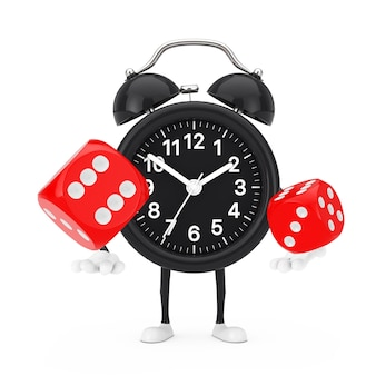 Alarm clock character mascot with red game dice cubes in flight on a white background. 3d rendering