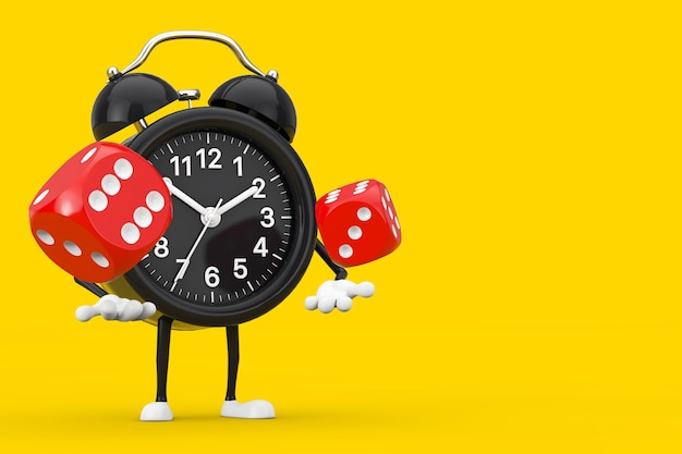Alarm clock character mascot with red game dice cubes in flight on a yellow background. 3d rendering