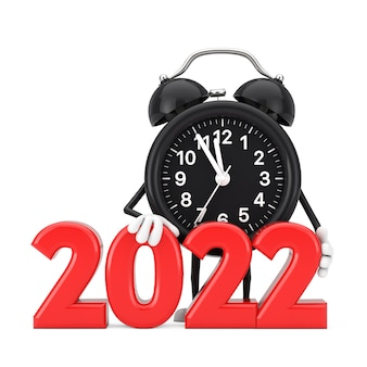 赤い新年2022年の目覚まし時計のキャラクターのマスコットは白い背景にサインします。 3dレンダリング