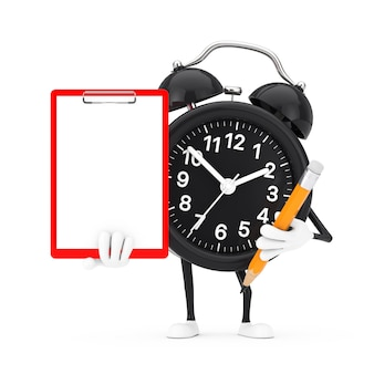Alarm clock character mascot with red plastic clipboard, paper and pencil on a white background. 3d rendering