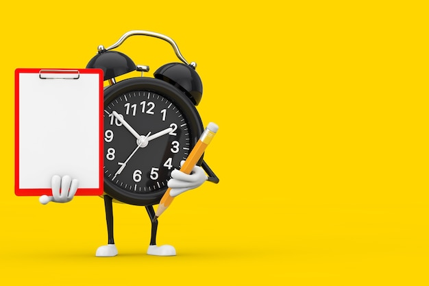 Alarm clock character mascot with red plastic clipboard, paper and pencil on a yellow background. 3d rendering