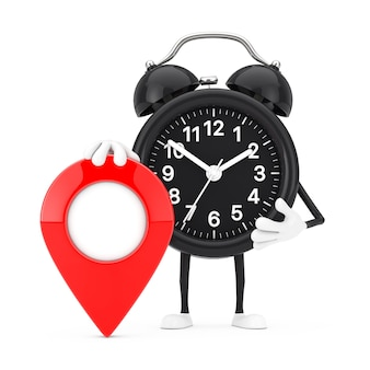 Alarm clock character mascot with red target map pointer pin on a white background. 3d rendering