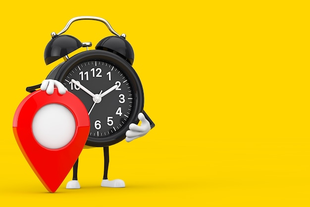 Alarm clock character mascot with red target map pointer pin on a yellow background. 3d rendering