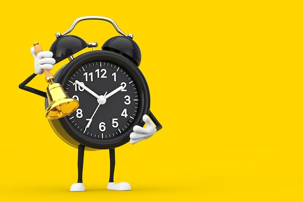 Alarm clock character mascot with vintage golden school bell on a yellow background. 3d rendering