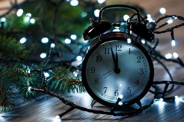 Alarm clock and christmas lights