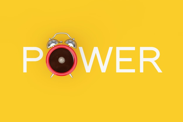 Чашка черного кофе с будильником как знак силы на желтом фоне. 3d рендеринг