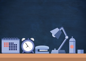 Alarm clock folder thinking messy school