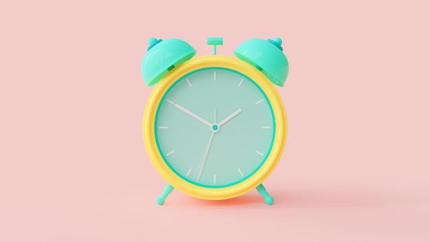 目覚まし時計の緑と黄色の色。