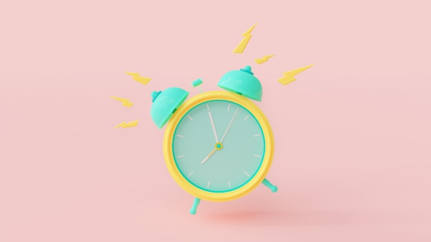 Alarm clock green and yellow color with clipping path on the pink.