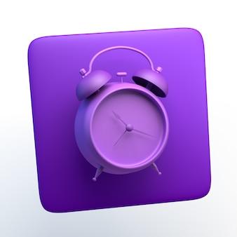 격리 된 흰색 배경에 알람 시계 아이콘입니다. 3d 그림입니다. 앱.