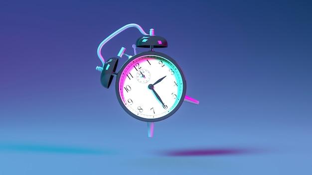 Будильник в неоновом синем и фиолетовом освещении, 3d иллюстрация