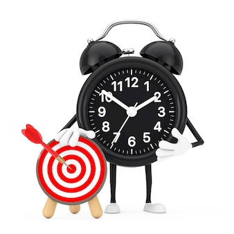 Alarm clock mascot person character with archery target with dart in center on a white background. 3d rendering