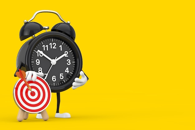 Alarm clock mascot person character with archery target with dart in center on a yellow background. 3d rendering