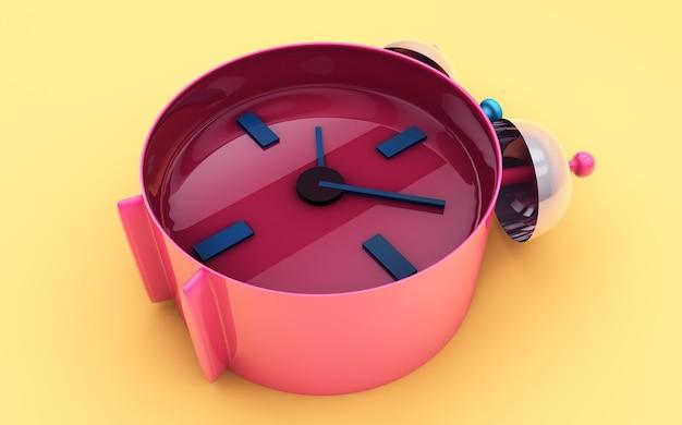Будильник на цветном фоне 3d визуализации