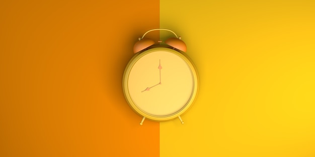 Alarm clock on orange and yellow background. top view. flat lay. 3d illustration. banner.