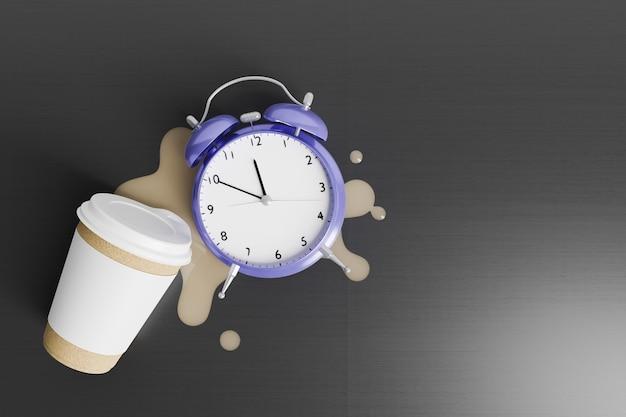 엎질러진 커피 위에 알람 시계