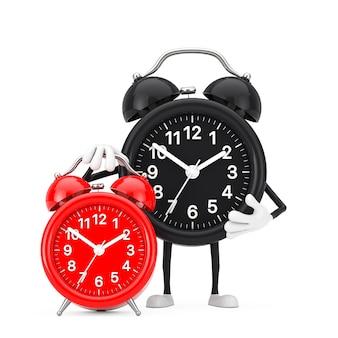 白い背景の上の赤い目覚まし時計と目覚まし時計の人のキャラクターのマスコット。 3dレンダリング