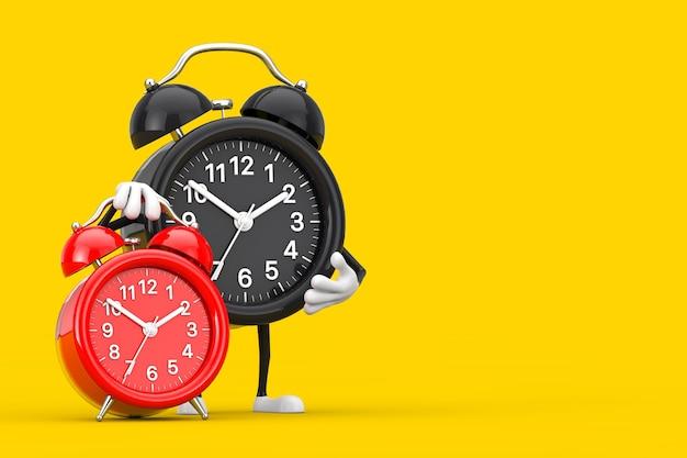 黄色の背景に赤い目覚まし時計と目覚まし時計の人のキャラクターのマスコット。 3dレンダリング